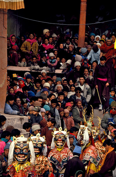 Buddhist Cham dancers perform at the annual festival in Matho Monastery. A ritual dance performed by monks wearing grotesque masks, it ends with the symbolic destruction of evil. Ladakh, India.