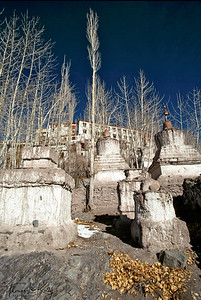 Thiksey Monastery atop hill with chortens below. Ladakh, India.
