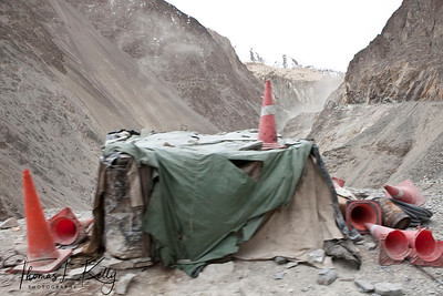 Road construction on the way to Lama Yuru. Ladakh, India.