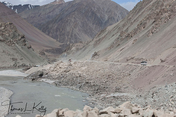 Road construction by the Indus River. Ladakh India.