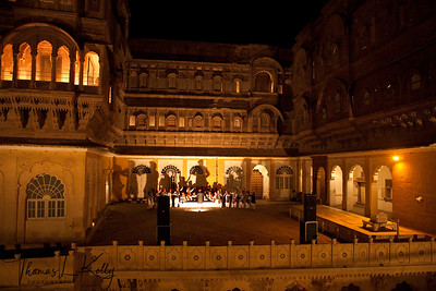 Intricate carvings and expansive balcony around courtyard of The Mehrangarh fort