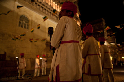 Rajasthan folk musicians and dancers welcome you to the Mehrangarh Fort.