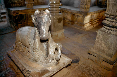 Nandi, the bull and vehicle of Lord Shiva, deity of destruction. Hampi, Karnataka, India.
