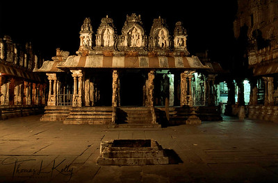 Inner courtyard of Virupaksha temple at night. Hampi, Karnataka, India.