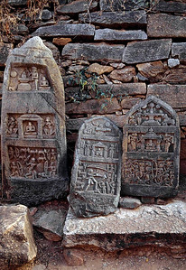 An enormous army was the key of Vijayanagar's survival during a period of Muslim movement south.  This stone work shows scenes of battle which was important not only for survival, but for the expansion of the empire. Hampi, Karnataka, India.