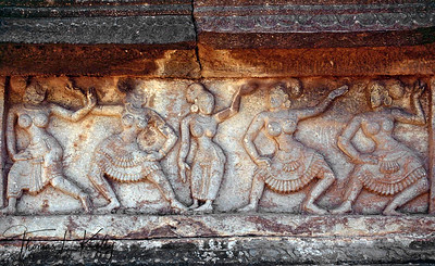 Court musician and dancer- detail from the Achyutaraya Temple complex. Hampi, Karnataka, India.