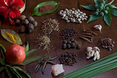 Different kind of South India spices native to Cochin at Swaswara, Gokarna, Karnataka, India.