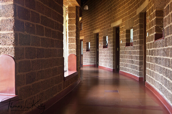 Circular Stone wall of building of Swaswara in Karnataka. India,