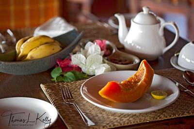 Breakfast setting at Swaswara, Gokarna, Karnataka, India.