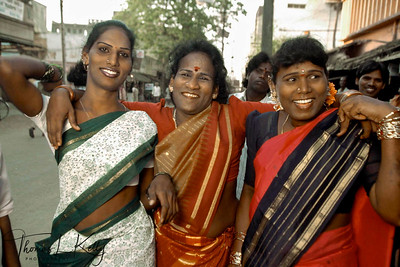 Hijaras on their way to the annual Aravan temple festival  south of Chennai (Madras) which attracts hijras (transsexuals) from all over India.