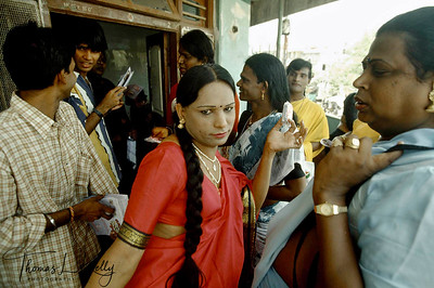 The Prakriti Sahodaran social workers on their way to the annual Aravan temple festival  south of Chennai (Madras) which attracts hijras (transsexuals) from all over India. The Sahodaran workers in drag pass out condoms and give counseling to the trans-sexual.