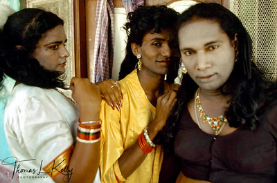 A hijras in a hotel room during the Aravan festival. The hotel was completely booked with hijras turning it into a Grand Hotel of Drag.