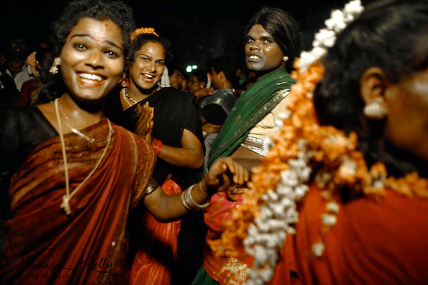 The night before the annual Aravan temple festival in Villupuram, South India, hijras or transsexuals go out in the streets cruising the straight men, most of whom are macho types with mustaches.
