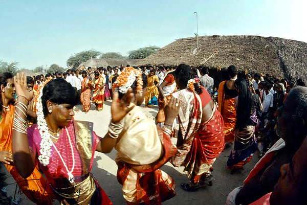 Hijaras dancing at annual Aravan temple festival, Villupurum, South India.