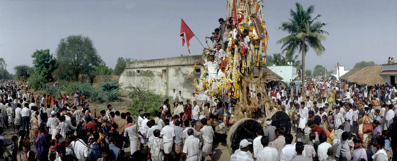 The red image of Aravan, being pulled through the streets in procession by mostly hijra  (trans-sexual) devotees.