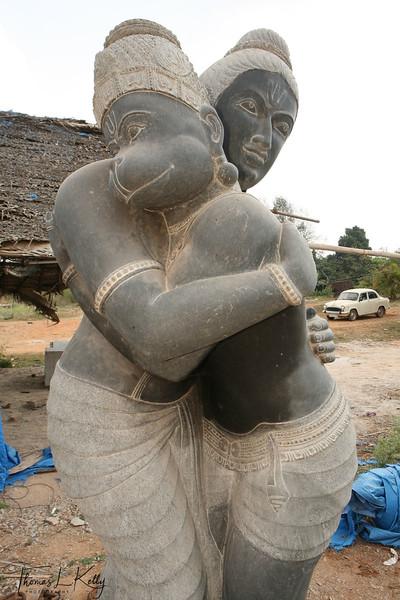 Lord Ram and Hanuman (monkey god) in embrace. This stone crafts shows the friendship between these two deities. According to the Hindu epic, Ramayana, Hanuman helped Lord Ram to rescue his consort Sita from Lanka, Demon Ravan's kingdom. Kanya Kumari, India.