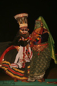 Artists perform Kathakali, Kathakali is the classical dance-drama of Kerala, South India.