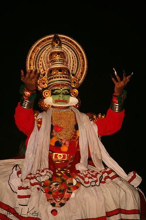 Artists perform Kathakali, Kathakali is the classical dance-drama of Kerala, South India.