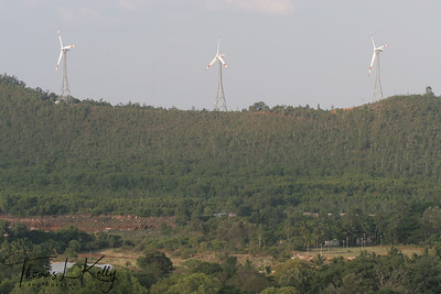 Bird eye view of wind mills at Tirumala from Srivari Padalu, Venkat Vijayam Guest House. Wind mills generate electricity for Tirumala.