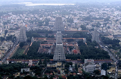 Overview of The Arunachaleshwor Shiva Temple from the top of the Mt. Arunachala. South India.