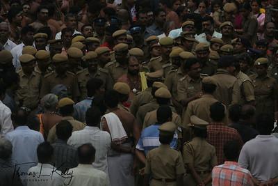 Volunteers and District Police making proper arrangements for sea of devotees.
