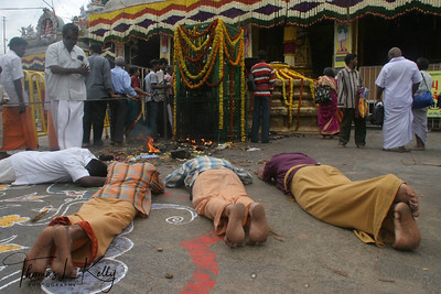 Devotees at the  Karttika Deepam festival.