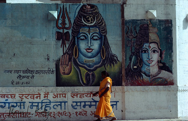 Paintings of Shiva dominate the Varanasi city for it is one of the holy cities of India where Lord Shiva presides. Varanasi, India