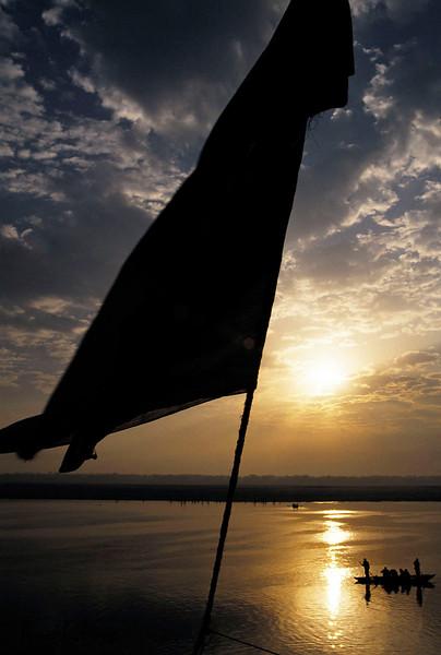 Ghat of Varanasi in the bank of Ganga river.  Varanasi, India.