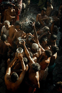 Yellamma's devotees taking spiritual bath.