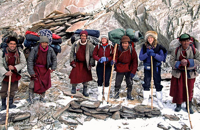 Expedition leaders Kim Gutschow, Harvard Antropoligist and Carroll Dunham, Princeton Antropolgist survey roue in with Zanskar porters.  Zanskar, India