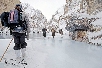 In winter, all roads and passses to Zanskar are blocked by snow. The only option for travellers is a 180 km trek down a (not always) frozen river in a narrow gorge. Temperatures stay at 20 degree celcius not counting the windchill factor. Zanskar, India