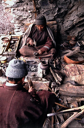 Isolated away from any commercial markets, Zanskaris craft their own boots made from sheep skin and wool. Zanskar, India.