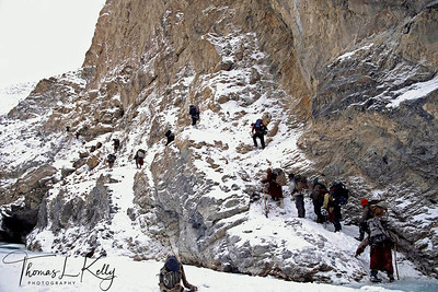 "The Zanskaris call this valley the Chodar,""ice gorge"", and it is only for the period of some six weeks each year that it feezes over solidly enough to allow access. Even so the ice is slippery and treacherous, and it takes an experienced guide to safety path. for atleast 1000 years the Zanskaris have used it as a winter trading route, preferring to make their commercial trips when their fields are lying dormant under the snow. Zanskar, India"