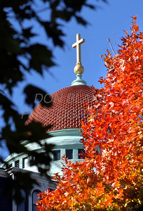 The colorful fall foliage frame the dome of the Sisters of St. Francis of Philadelphia convent in Aston, PA, Tuesday, October 28, 2003.