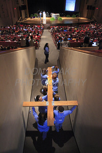 "CYM Youth Leaders carry a replica of the World Youth Day Cross into the auditorium during the ""One Spirit, One Church"" a Diocesan High School youth conference at St. Mark's High School, Sunday, March 1, 2009. The Dialog/Don Blake"