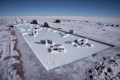 Surface of the salt desert after a cut in the making of salt bricks. The proliferation of salt hotels in the Salar de Uyuni has increased the demand for bricks cut from the salt bark. May 13 of 2015. Colchani, Potosi, Bolivia.