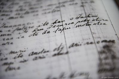 Photocopy of a Tepa family 'puta tupuna' collected by Martin BRUNOR in the 1950s, supposedly dating from the late 19th century. This document mention A'a > âa.  //   Photocopie d'une 'puta tupuna' de la famille Tepa, recueillie par Martin BRUNOR dans les années 50 et qui aurait été construite à la fin du XIXe siècle. Ce document parle du tiki A'a et est écrit ainsi > âa.