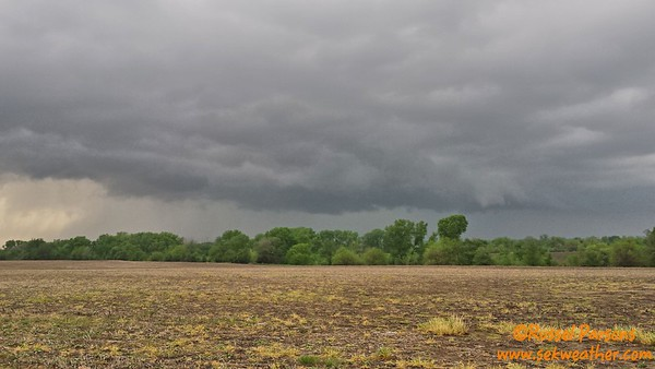 April 16, 2016 - Looking North At A Wall Cloud From East Of Wichita, Kansas