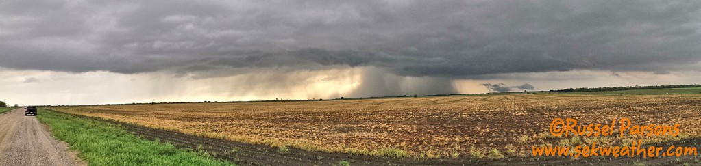 April 16, 2016 - Looking North At A Wall Cloud From North of Wellington, Kansas