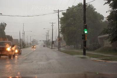 Heavy Rain At Carlton And Broadway Streets In Pittsburg, Kansas