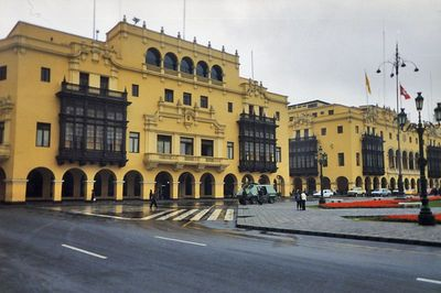 Lima Peru - A tank sits in front Plaza de Armas in Lima