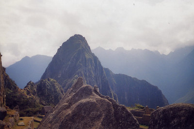 The model - Te rock at the bottom center of this image, has a scaled model shaped to match the 3 mountainous peaks behind it.