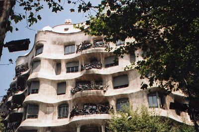 """Gaudi -- """"Mila  House"""" -  """"La Pedre""""   was built between 1906 and 1910 for Milà family. This is one of the main Gaudí residential buildings demonstrates wonderful imagination of all homes throughout architecture history, this building appears more as a sculpture than a building."""