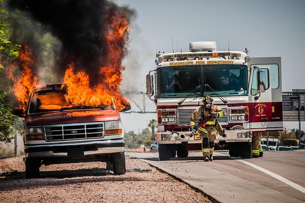 Guadalupe Fire Department I-10 Car Fire