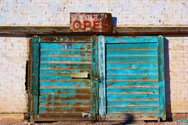 Turquoise doors in Truth or Consequences, NM