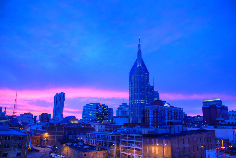 Nashville Skyline 1st Ave. Sunset