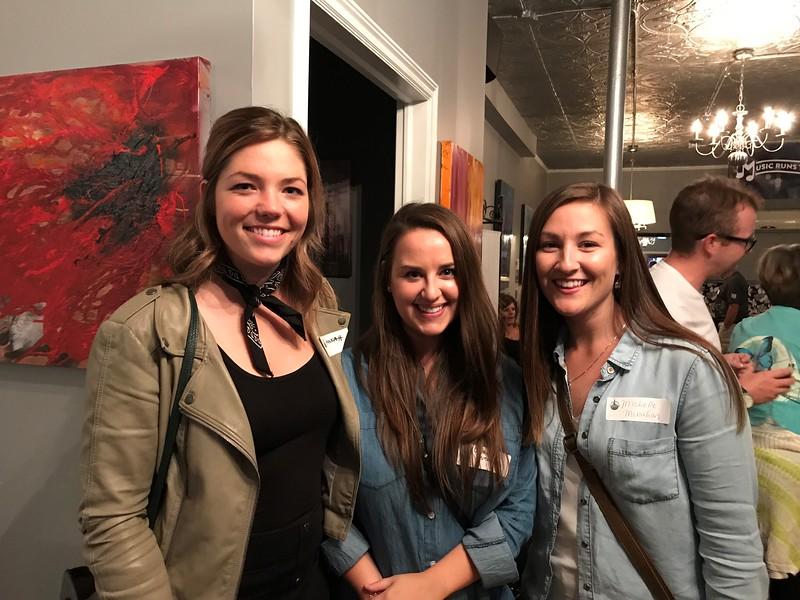 Hannah Davies, BA'13; Lauren Stoddard, BA'13, BSW'15 and Michelle Monahan, BA'11