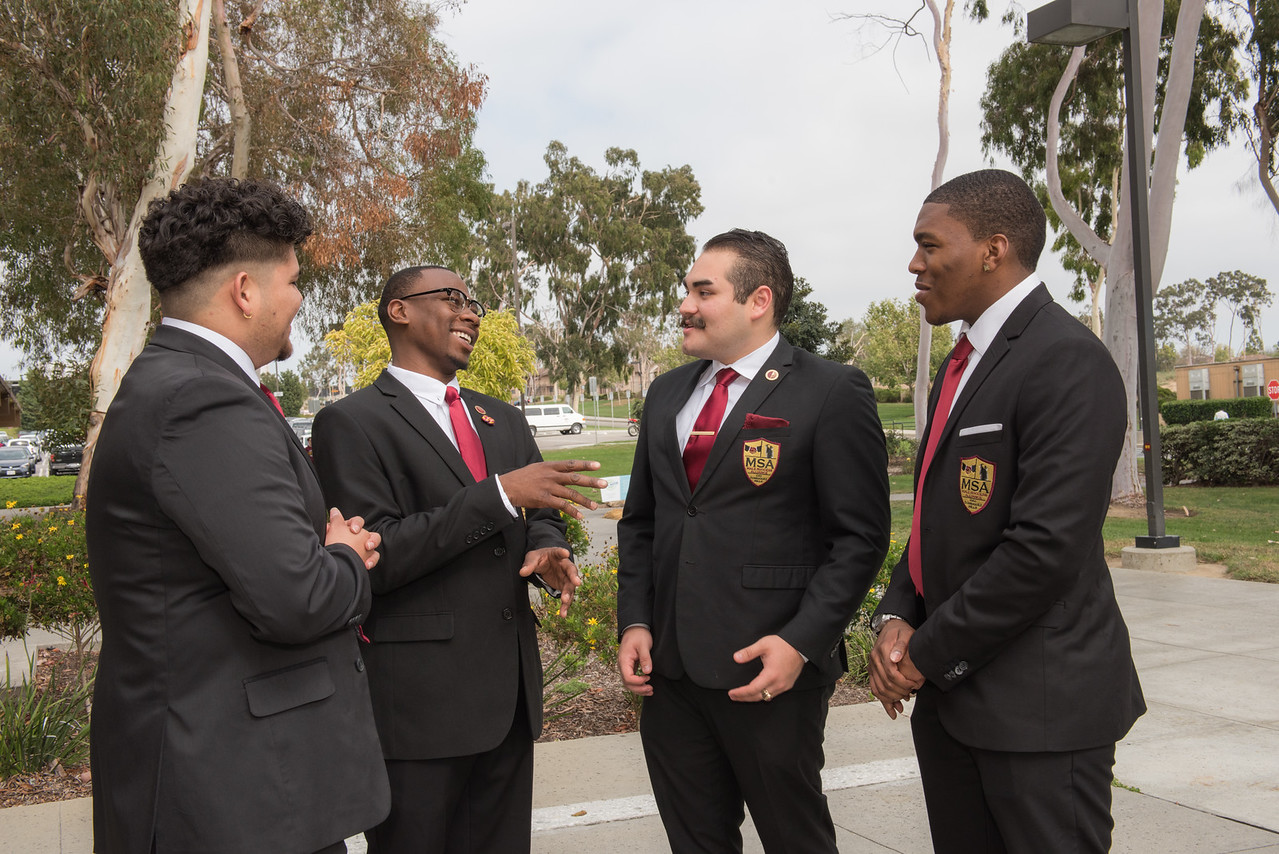 Male Success Alliance MSA a few members of the Cal State Dominguez Hills Male Success Alliance gather before an event in a classroom setting and on campus