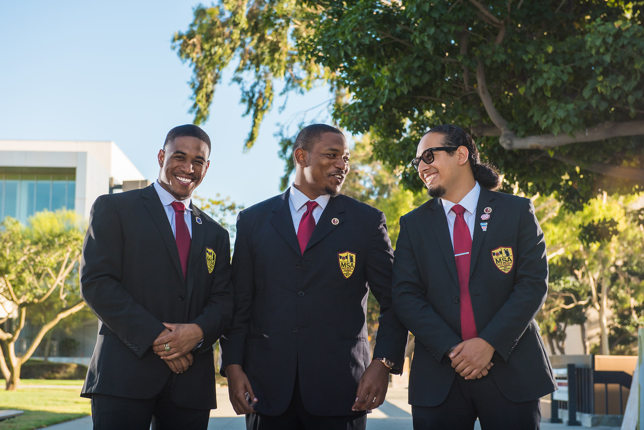MSA Male Success Alliance members gather on the west walkway of Cal State University Dominguez Hills for an advertising campaign highlighting the brotherhood and community that the MSA brings to the campus.