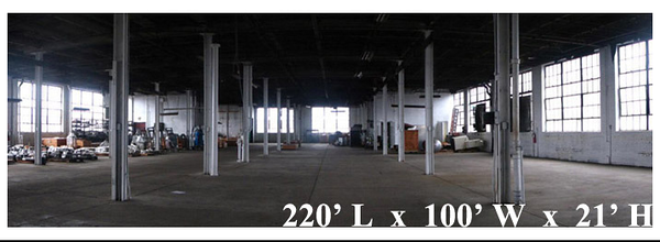STUDIO E The dimensions of Studio E are 220' wide and 100' in length with height of 31' . Air Conditioning and Heat is available so that production could be done anytime of year for your comfort. There are 3 renovated floors that could utilized in numbers ways.   http://www.eastofhollywoodny.com/studios/studio-e/